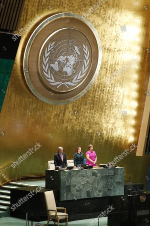 A moment of silence is observed for former UN Secretary General Kofi Annan at the start of the General Debate of the General Assembly of the United Nations at United Nations Headquarters in New York, New York, USA, 25 September 2018. The General Debate of the 73rd session begins on 25 September 2018.