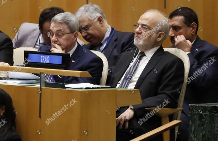 Iraqi Foreign Minister Ibrahim al-Jaafari (2R) listens during the General Debate of the General Assembly of the United Nations at United Nations Headquarters in New York, New York, USA, 25 September 2018. The General Debate of the 73rd session begins on 25 September 2018.
