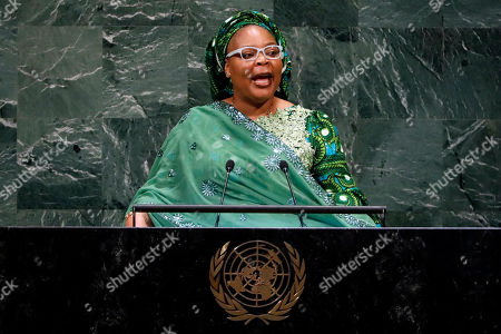 Nobel Peace Prize winner Leymah Gbowee, from Liberia, addresses the 73rd session of the United Nations General Assembly, at U.N. headquarters