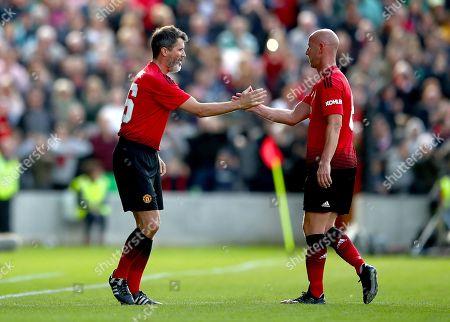 Celtic & Ireland Legends vs Manchester United Legends. Manchester United's Roy Keane and Nicky Butt
