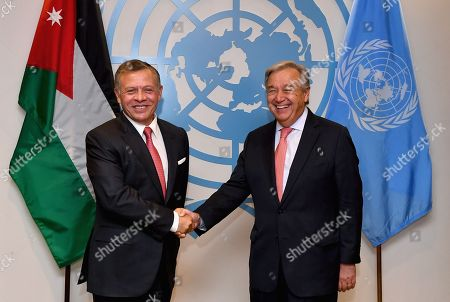 United Nations Secretary General Antonio Guterres (R) greets King Abdullah II bin Al-Hussein of Jordan on the sidelines of the General Debate of the General Assembly of the United Nations at United Nations Headquarters in New York, New York, USA, 25 September 2018. The General Debate of the 73rd session begins on 25 September 2018.