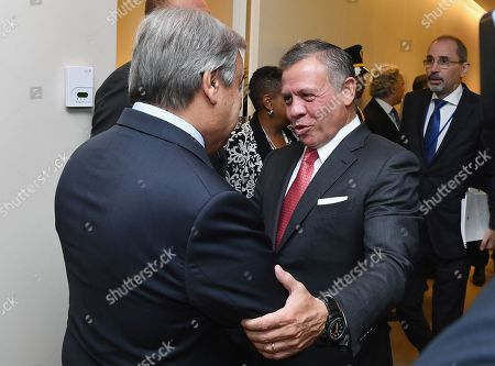 United Nations Secretary General Antonio Guterres (L) greets King Abdullah II bin Al-Hussein of Jordan on the sidelines of the General Debate of the General Assembly of the United Nations at United Nations Headquarters in New York, New York, USA, 25 September 2018. The General Debate of the 73rd session begins on 25 September 2018.