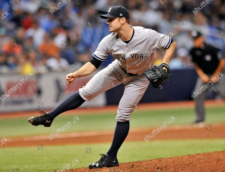 New York Yankees reliever David Robertson pitches during a baseball game against the Tampa Bay Rays, in St. Petersburg, Fla