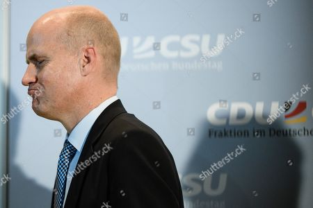 The newly elected parliamentary group leader of the CDU/CSU faction, Ralph Brinkhaus, leaves after a press conference following a joint meeting of the Christian Democratic Union (CDU) and Christian Social Union (CSU) parties' faction in Berlin, Germany, 25 September 2018. The joint CDU/CSU faction gathered to vote for their new chairman in an election which Brinkhaus won over the faction's long-time former chairman Volker Kauder.