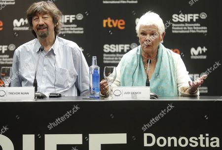 British actress Judy Dench (R) and British film director Trevor Nunn (L) attend a press conference during the presentation of the film 'Red Joan' at the 66th edition of San Sebastian international Film Festival (SSIFF), in San Sebastian, Basque Country, Spain, 25 September 2018. The SSIFF will be held from 21 to 29 September 2018.