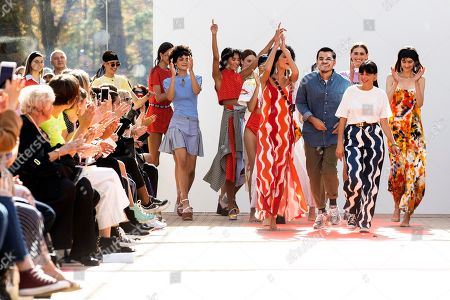 French designers Lea Sebban, Jerry Journo and Lou Menais  acknowledges the public after their Spring/Summer 2019 Ready to Wear collection show for Jour/Ne during the Paris Fashion Week, in Paris, France, 25 September 2018. The presentation of the Women's collections runs from 25 September to 03 October.