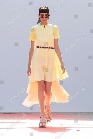 A model presents a creation from the Spring/Summer 2019 Ready to Wear collection by French designers Lea Sebban, Lou Menais and Jerry Journo for Jour/Ne during the Paris Fashion Week, in Paris, France, 25 September 2018. The presentation of the Women's collections runs from 25 September to 03 October.