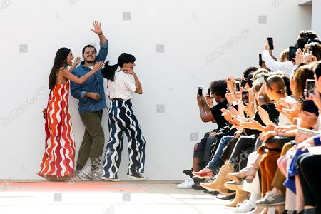 French designers Lea Sebban, Jerry Journo and Lou Menais acknowledge the public after their Spring/Summer 2019 Ready to Wear collection show for Jour/Ne during the Paris Fashion Week, in Paris, France, 25 September 2017. The presentation of the Women's collections runs from 25 September to 03 October.