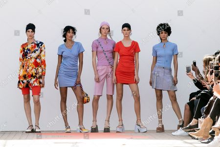 Models present creations from the Spring/Summer 2019 Ready to Wear collection by French designers Lea Sebban, Lou Menais and Jerry Journo for Jour/Ne during the Paris Fashion Week, in Paris, France, 25 September 2018. The presentation of the Women's collections runs from 25 September to 03 October.