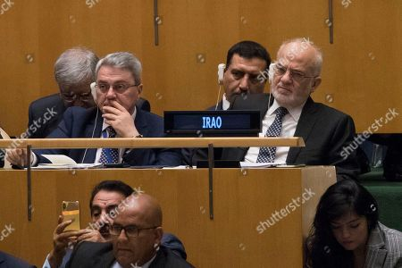 Iraq's Foreign Minister Ibrahim al-Jaafari listens as President Donald Trump addresses the 73rd session of the United Nations General Assembly, at U.N. headquarters