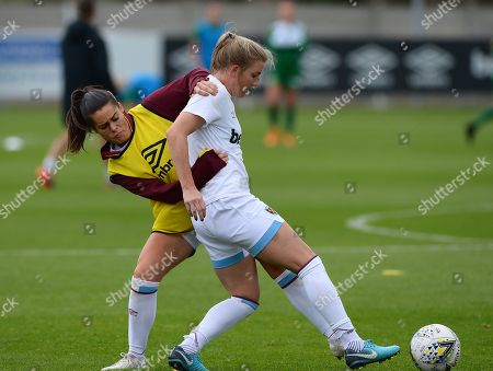 Claire Rafferty of West Ham Women and Kate Longhurst of West Ham Women warming up before kickoff