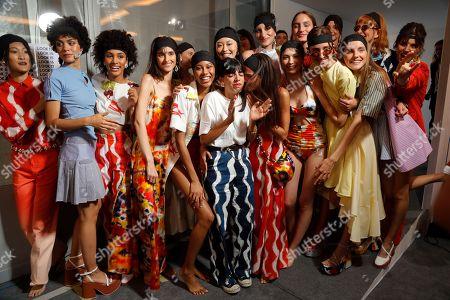 Lou Menais and models backstage