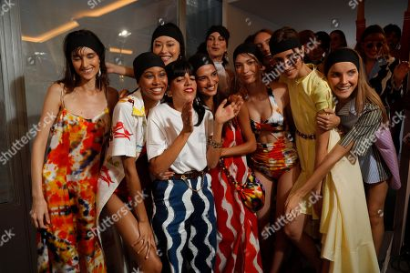 Stock Picture of Lou Menais and models backstage