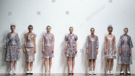 Stock Image of Models present creations from the Spring/Summer 2019 Women's collections by Japanese designer Kunihiko Morinaga for Anrealage during the Paris Fashion Week, in Paris, France, 25 September 2018. The presentation of the Women's collections runs from 24 September to 02 October.
