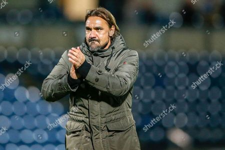 Norwich City Manager Daniel Farke applauds the fans after winning the EFL Cup match between Wycombe Wanderers and Norwich City at Adams Park, High Wycombe
