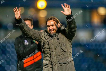 Norwich City Manager Daniel Farke salutes fans after winning the EFL Cup match between Wycombe Wanderers and Norwich City at Adams Park, High Wycombe