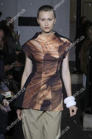 Stock Image of Ekaterina Ozhiganova on the catwalk