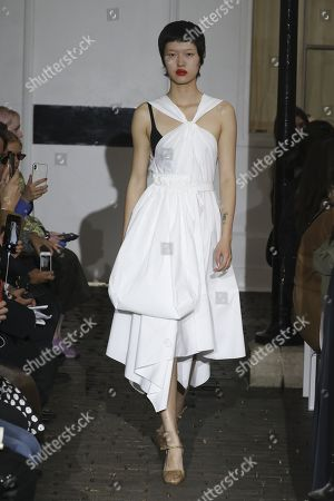 Stock Picture of Shujing Zhou on the catwalk