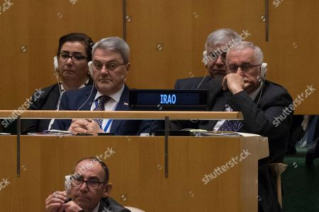 Brahim al-Jaafari. Iraq's Foreign Minister Ibrahim al-Jaafari, right, listens as Iranian President Hassan Rouhani addresses the 73rd session of the United Nations General Assembly, at U.N. headquarters