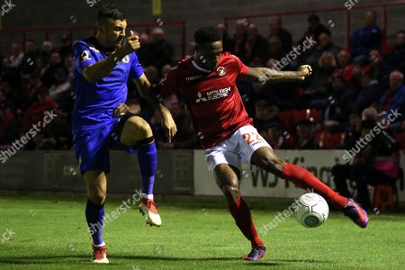 Bagasan Graham of Ebbsfleet United nd George Porter of Bromley during Ebbsfleet United vs Bromley, Vanarama National League Football at The Kuflink Stadium on 25th September 2018