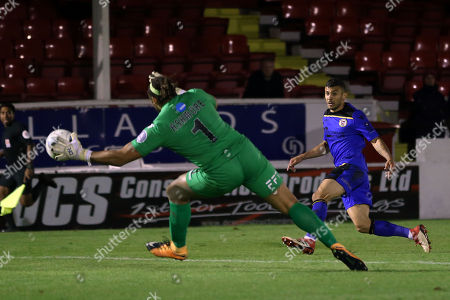 George Porter of Bromley is denied by Nathan Ashmore of Ebbsfleet United during Ebbsfleet United vs Bromley, Vanarama National League Football at The Kuflink Stadium on 25th September 2018