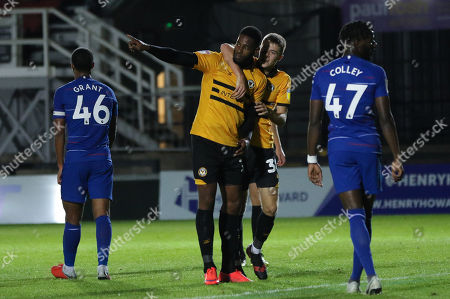 Jamille Matt of Newport County celebrates with Lewis Collins of Newport County after scoring goal