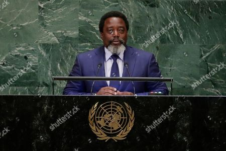 Stock Image of President of the Democratic Republic of the Congo Joseph Kabila Kabange addresses the 73rd session of the United Nations General Assembly, at the United Nations headquarters