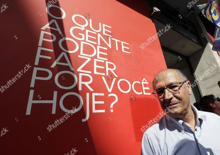 Brazilian Social Democracy Party (PSDB) candidate in Presidential elections Geraldo Alckmin (R) during his campaign event, in Sao Paulo, Brazil, 25 September 2018.