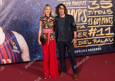 FC Barcelona's former player Carles Puyol (R) and his partner Vanesa Lorenzo (L) attend the Juan Carlos Navarro's tribute organized by FC Barcelona at Palau Blaugrana in Barcelona, Catalonia, Spain, 25 September 2018.