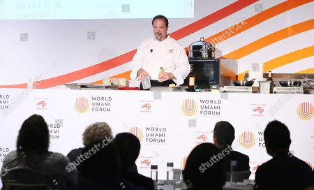 CEO, Complete Culinary, LLC, Chef Chris Koetke demonstrates the culinary application of umami at the first-ever World Umami Forum presented by Ajinomoto Co., Inc., a two-day event to present the facts and correct misperceptions of monosodium glutamate, held at the Conrad Hotel in New York City on