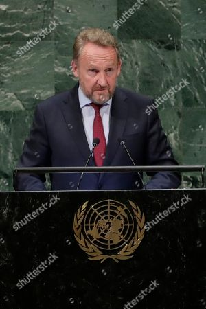Bosnian Muslim member of Bosnia's tripartite Presidency Bakir Izetbegovic addresses the 73rd session of the United Nations General Assembly, at the United Nations headquarters