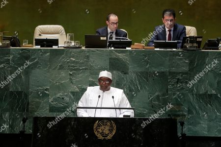 Gambia's President Adama Barrow addresses the 73rd session of the United Nations General Assembly, at the United Nations headquarters