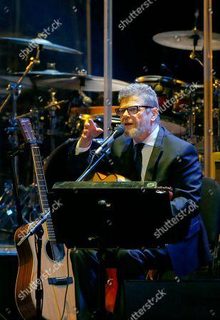 Argentine composer, producer and musician Gustavo Santaolalla performs at the Teatro Esperanza Iris in Mexico City