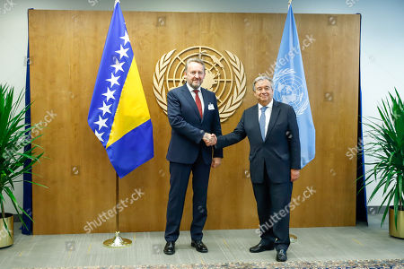 Stock Image of Bakir Izetbegovic President of Bosnia during a meeting with Antonio Guterres, Secretary General of the United Nations during a meeting at the UN Headquarters in New York