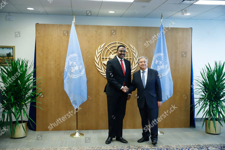Stock Photo of Workneh Gebeyehu Negewo Minister of Foreign Affairs of Ethiopia during a meeting with Antonio Guterres, Secretary General of the United Nations during a meeting at the UN Headquarters in New York