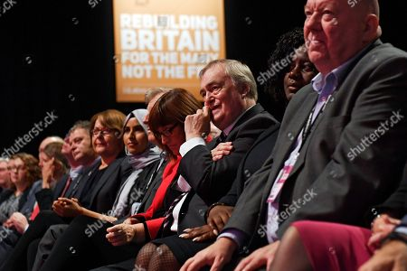 Former Deputy Prime Minister John Prescott (3-L) listens as Labour Leader Jeremy Corbyn delivers a keynote speech at the Labour Party Conference in Liverpool, Britain, 26 September 2018. The annual Labour Party Conference which will run from 23 September until Wednesday 26 September.
