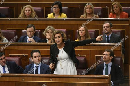 Spokeswoman of the Spanish Popular Party (PP) at the Lower House, Dolors Montserrat (2-R, first row), delivers a speech during question time at Congress of Deputies in Madrid, Spain, 26 September 2018. According to Spanish Popular Party (PP), the Government of Spanish Prime Minister Pedro Sanchez is the 'Government of shame' for its management of the Catalan crisis amongst other issues, and claimed Sanchez should call for elections.