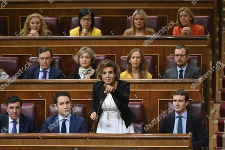 Spokeswoman of the Spanish Popular Party (PP) at the Lower House, Dolors Montserrat (2-R, first row), delivers a speech during question time at Congress of Deputies in Madrid, Spain, 26 September 2018. According to Montserrat, the Government ruled by Spanish Prime Minister Pedro Sanchez is the 'Government of shame' for its management of the Catalan crisis amongst other issues, and claimed Sanchez should call for elections.