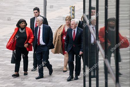 From left: Shadow Home Secretary Diane Abbott, Shadow Secretary of State for Justice Richard Burgon, Labour Party Leader Jeremy Corbyn, Shadow Foreign Secretary Emily Thornberry and Shadow Chancellor John McDonnell arrive at the Labour Party Conference ahead of Jeremy Corbyn's speech.