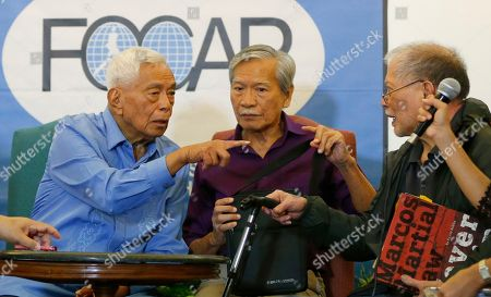 """Aquilino Pimentel, Satur Ocampo, Rene Saguisag. Martial law victims, from left; former Senate President Aquilino Pimentel, former Congressman Satur Ocampo and former Senator and Human Rights lawyer Rene Saguisag relate their ordeal while in detention during martial law at a foreign correspondents forum, in Manila, Philippines. The forum was in response to the recent one-on-one interview by Ferdinand """"Bongbong"""" Marcos Jr., the son of the late dictator Ferdinand Marcos, with former Senate President Juan Ponce Enrile, the so-called """"architect of martial law,"""" to name one person who got arrested simply because he or she criticized former President Ferdinand Marcos"""