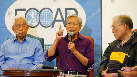 """Aquilino Pimentel, Satur Ocampo, Rene Saguisag. Former Congressman Satur Ocampo, center, relates his ordeal while in detention during martial law, during a foreign correspondents forum, in Manila, Philippines. The forum was in response to the recent one-on-one interview by Ferdinand """"Bongbong"""" Marcos Jr., the son of the late dictator Ferdinand Marcos, with former Senate President Juan Ponce Enrile, the so-called """"architect of martial law,"""" when Enrile challenged anyone to name one person who got arrested simply because he or she criticized former President Ferdinand Marcos. Flanking Ocampo at left is former Senate President Aquilino Pimentel and former Senator Rene Saguisag"""