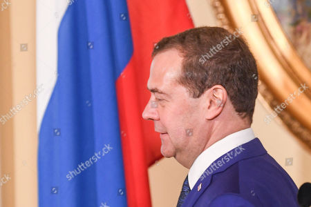 Visiting Prime Minister of Russia Dmitri Medvedev attends a joint news conference with Finnish Prime Minister Juha Sipila (unseen) in the Government Banquet Hall Smolna in Helsinki, Finland, 26 Septemper 2018. Medvedev is on a one-day state visit to Finland.