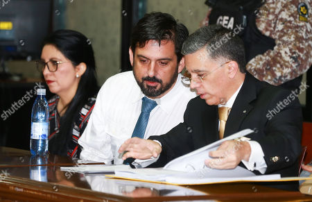 The American web designer Paul Ceglia (C), attends a hearing on his extradition to the United States, in the National Court of Justice of Ecuador, in Quito, Ecuador, 26 September 2018. Others are not identified. Ceglia several years ago demanded half of Facebook's property and is now detained in Ecuador. He faces trial in the USA for alleged fraud and extortion to Facebook founder Mark Zuckerberg, who claimed a part of the company with the argument that he had designed the website and that they had agreed to it in a contract that US authorities considered fraudulent.
