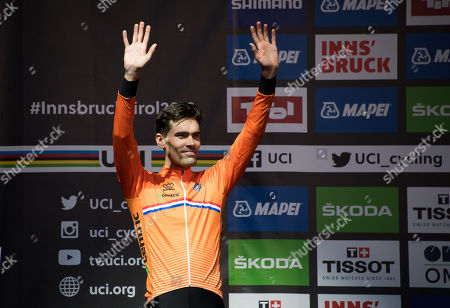 Second placed Tom Dumoulin of the Netherlands reacts during the award ceremony of the Men's Elite Individual Time Trial at the UCI Road Cycling World Championships, Innsbruck, Austria, 26 September 2018.