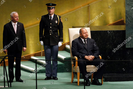 King Tupou VI, of Tonga, waits to address the 73rd session of the United Nations General Assembly, at U.N. headquarters