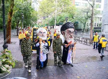 Stock Picture of Protest against the presence of Iranian President Hassan Rohani during the UN General Assembly in New York