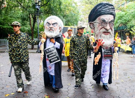 Protest against the presence of Iranian President Hassan Rohani during the UN General Assembly in New York