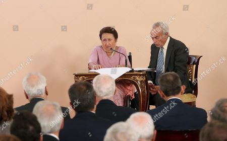Spanish Infanta Margarita (L) and her husband Soria Duke, Carlos Zurita (R attend the central Homage to International Hispanism organized by Dukes of Soria Foundation at El Pardo Palace in Madrid, Spain, 26 September 2018.