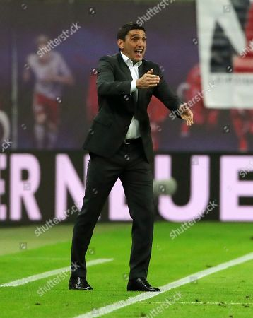 Stock Image of Trainer Tayfun Korkut gesture,     / Sport / Football 1. Bundesliga /  2018/2019 / 26.09.2018 / RB Leipzig RBL vs. VfB Stuttgart / DFL regulations prohibit any use of photographs as image sequences and/or quasi-video.  /