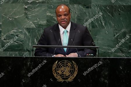 King Mswati III of Eswatini addresses the 73rd session of the United Nations General Assembly, at the United Nations headquarters